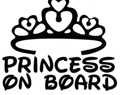מדבקה מעוצבת לרכב עם כתר princess on board