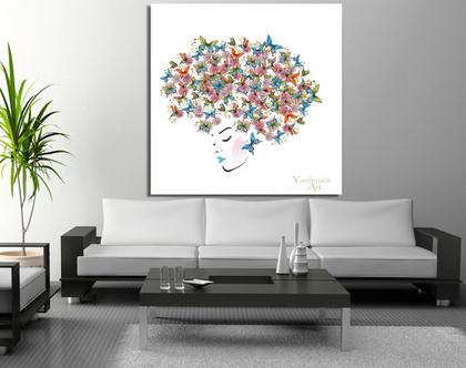 תמונת קנבס ♥ Butterflies in head| תמונה מיוחדת לסלון |תמונת קנבס ראש של אשה | תמונת ראש של אשה