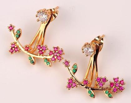 עגילי גולדפילד בשיבוץ זירקונים צבעוניים - פרחים סובבי אוזן