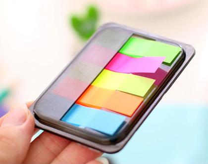 פתקיות צבעוניות | פתקיות לסימון | קופסאת פתקיות קטנה | memo pad