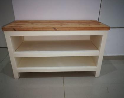 ספסל לנעליים בעבודת יד מעץ מלא