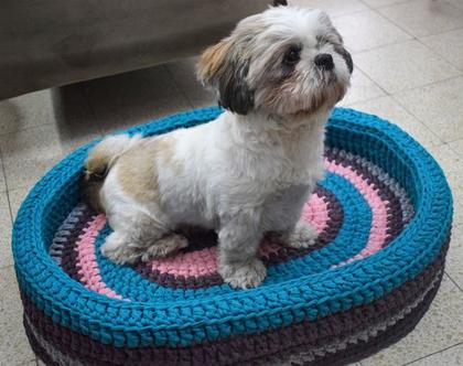 מיטה לכלב, מיטה סרוגה לכלב או חתול מחוטי טריקו, אובלית לחיית מחמד קטנה/בינונית.