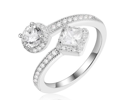 טבעת דאבל סוליטר מכסף אמיתי משובץ