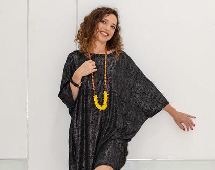 שמלת אוברסייז שחורה, שמלה מנצנצת עם מחשוף סירה, שמלת קימונו, שמלה עם שרוול עטלף, שמלה יפה לחג, לערב או ליום יום