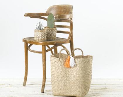 תיק קש קלוע מעשב ים בצבע טבעי עם ידיות