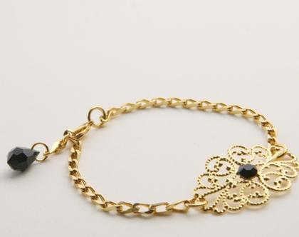 צמיד גורמט - צמיד עדין - צמיד זהב לאישה - צמיד רטרו - צמידים לאישה - צמידים מעוצבים - בסגנון וינטג' - זהב ואבן סברובסקי שחורה