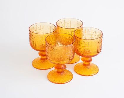 רביעיית גביעי קינוח מזכוכית מחוסמת, וינטג' אמיתי משנות ה 60