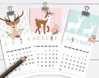 לוח שנה אישי 2020 | לוח שנה דגם איילים | מודפס על קרטון לבן איכותי