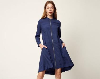 שמלת לארה כחולה   שמלת אוברסייז   שמלת ג'קט   שמלת רוכסן  