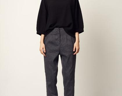 מכנסי פרי   אפור פסים   מכנסיים מחוייטים  