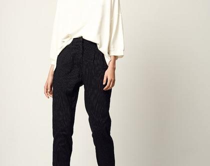 מכנסי פרי   שחור פסים   מכנסיים לעבודה  