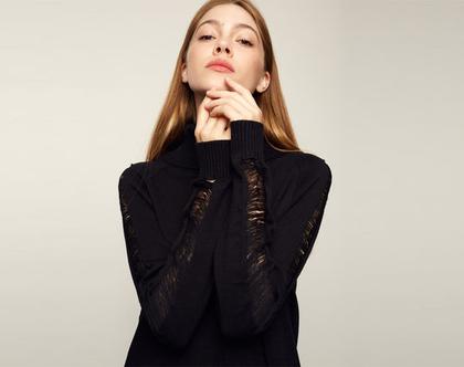 שמלת גבריאל | שמלת סריג שחור | סריג גולף | סריגים לנשים |