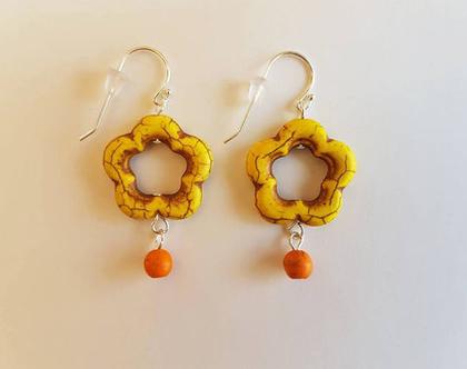 עגילי פרח צהוב - עגילים צהובים - עגילים אבני חן - עגילי אבני חן וכסף