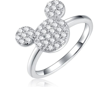 טבעת מיקי מכסף אמיתי משובץ