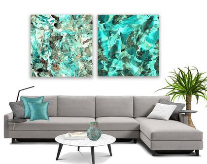 סט תמונות קנבס בעיצוב מקורי ♥ Abstract turquoise| תמונה מעוצבת לבית | תמונה מעוצבת למשרד | סט תמונות בצבע צהוב