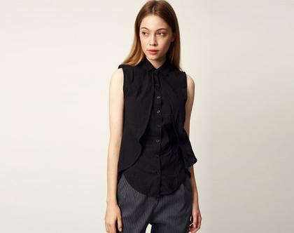 חולצת שרליז   חולצה שחורה   חולצה מכופתרת  