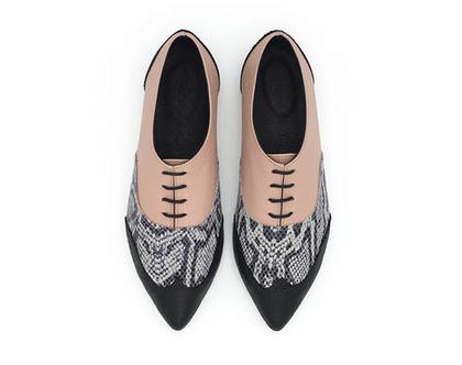 נעלי אוקספורד פודרה בשילוב הדפסים, דגם ולרי