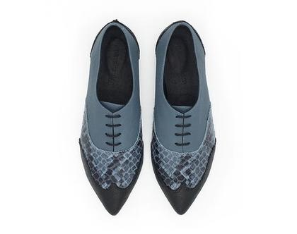 נעלי אוקספורד כחולות בשילוב הדפסים, דגם ולרי