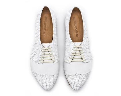 נעלי אוקספורד- דגם פולי ג'ין לבן