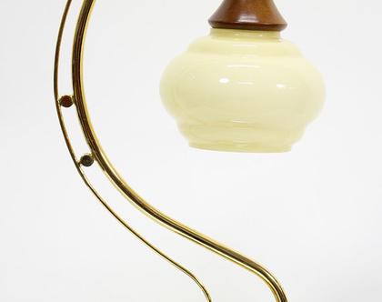 מנורת ארט דקו מוזהבת, מנורת פליז, מנורת שולחן מוזהבת, מנורת זהב