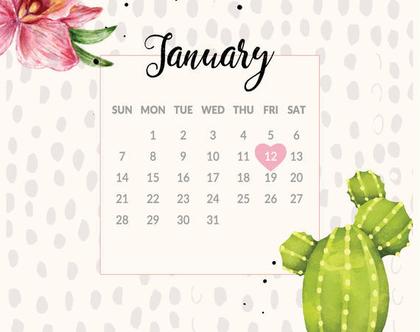 לוח שנה 2020 אישי | קבצים להדפסה עצמית | שנת 2020 | לוח שנה ממותג אישית עם סימון תאריכים חשובים