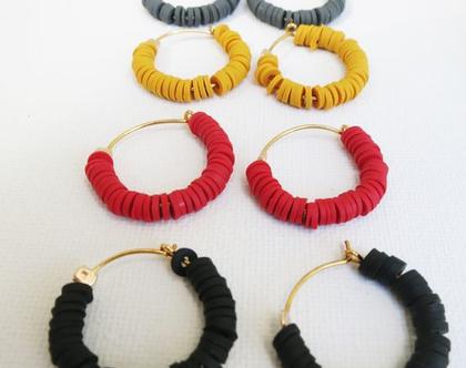 עגילי חישוק זהב מעוצבים צבעוניים