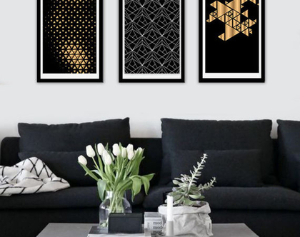 3 תמונות לבית - משולשים זהב ולבן