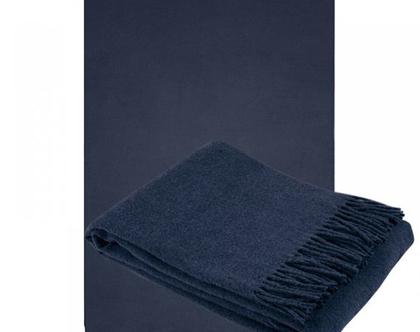 כירבולית כחולה רכה מצמר מרינו שמיכת צמר שמיכה להגנה מהקור שמיכת טלוויזיה מצמר צבע כחול עיצוב סלון שמיכת צמר שמיכה חורפית מתנה לאמא