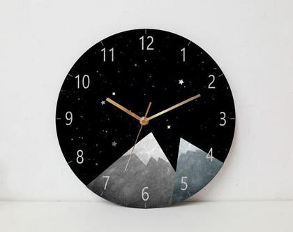 שעון קיר לחדר ילדים , שעון קיר עגול לעיצוב לחדר תינוקות, לחדר של בן