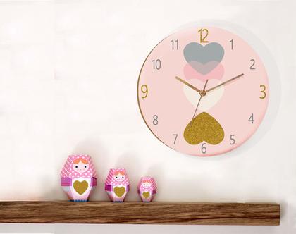 שעון קיר לחדר ילדים , שעון קיר ורוד לחדר של בת, עיצוב חדר תינוקות