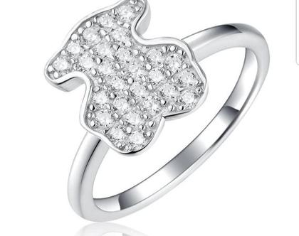 טבעת דובי מכסף אמיתי משובץ