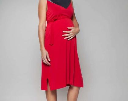 שמלת מידי, שמלה אדומה, שמלת הריון, שמלת joy