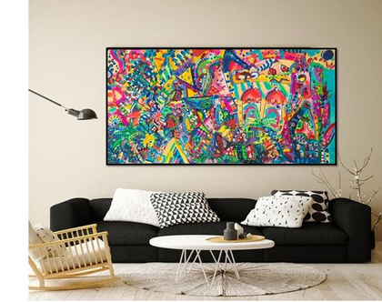 ציור צבעוני לבית, עיצוב פנים, תכשיטים לקירות של הציירת ענבר רייך,גלריה ציורים, אומנות ישראלית
