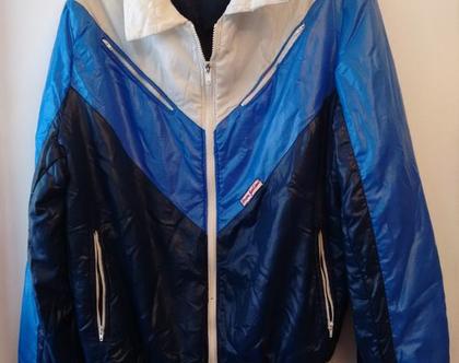 ג'קט ספורט אייטיז כחול לגבר/אישה | ג'קט ספורטיבי מרופד קליל מבריק מידה L XL