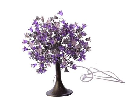 מנורת שידה פרחים קופצניים בצבעים של סגול ואפור