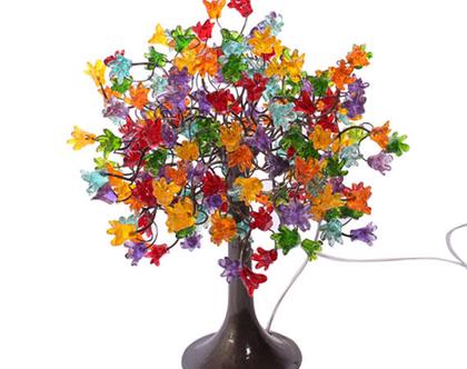 מנורת שידה פרחים קופצניים צבעוניים