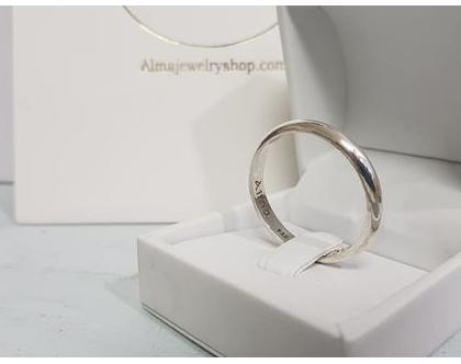 טבעת כסף לגבר | מתנה לבן זוג |טבעת עם חריטה לגבר | טבעת במידה מיוחדת |טבעת בהזמנה אישית