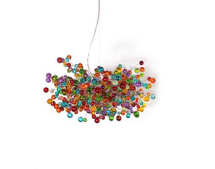 """מנורת תקרה """"חללית"""" כדורים בשלל צבעי הקשת"""