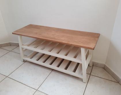ספסל דגם מדפינה כפולה בזוית מעץ אשור/אלון   ספסל כניסה/נעליים   ספסל עם שני מדפים