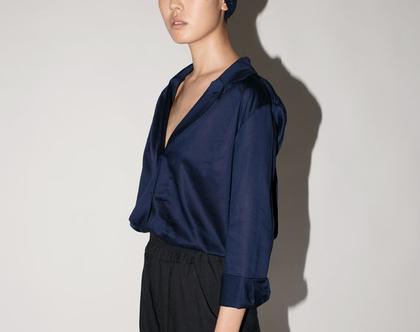 חולצת כפתורים כחולה, חולצה מבריקה, חולצה לסתיו, חולצה שרוול ארוך, חולצה כחולה