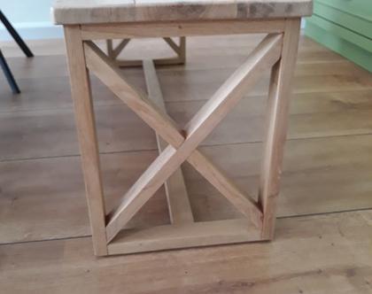 ספסל/שולחן איקס בריבוע מעץ אלון | ספסל לפינת אוכל | ספסל לאמבטיה | ספסל לחדר שינה | ספסל פסנתר