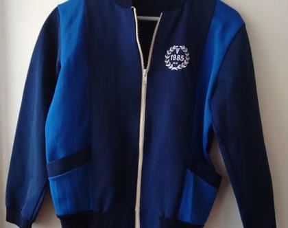 סווצ'ר כחול אייטיז   סווצ'ר כחול סמל 1985 וינטג' מקורי מידה S M