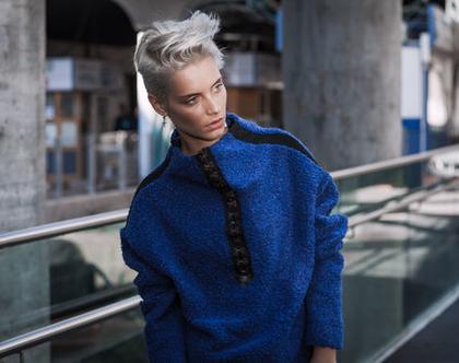 חדש! סוודר מצמר, חורפי וחם, בכחול, עם סגירת כרסים