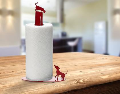 מעמד לנייר סופג, חתול וכלב אדום, מתנה מקורית לבית