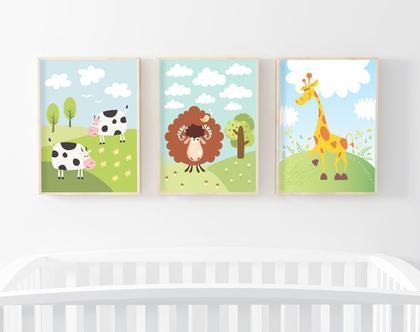 3 פוסטרים במחיר מיוחד! | פוסטרים לחדר ילדים | עיצוב חדר ילדים | כבש, ג'ירפה ופרות