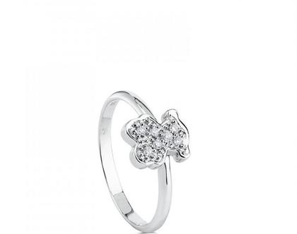 טבעת דובי קטן מכסף משובץ