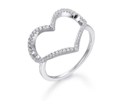 טבעת לב חלול כסף משובץ