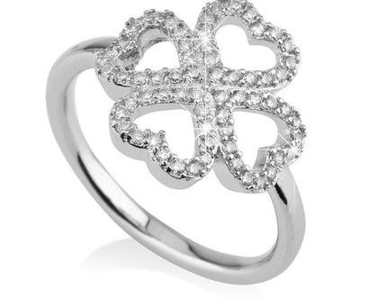 טבעת תלתן כסף אמיתי משובץ