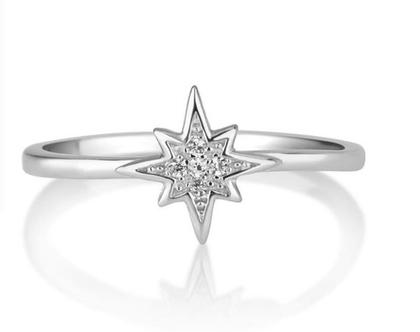 טבעת כוכב כסף אמיתי משובץ