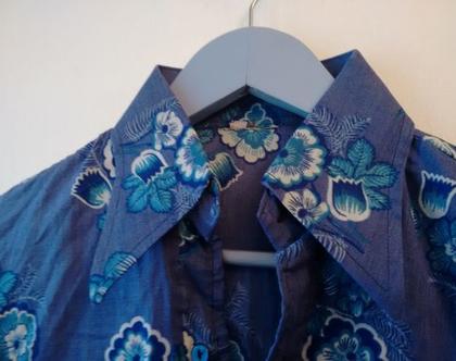 חולצת סבנטיז פרחים טורקיז לגבר   חולצה אלגנטית מקורית משנות ה70' מידה S